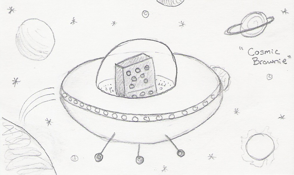 Cosmic Brownie [picture of a brownie piloting a UFO through the stars]