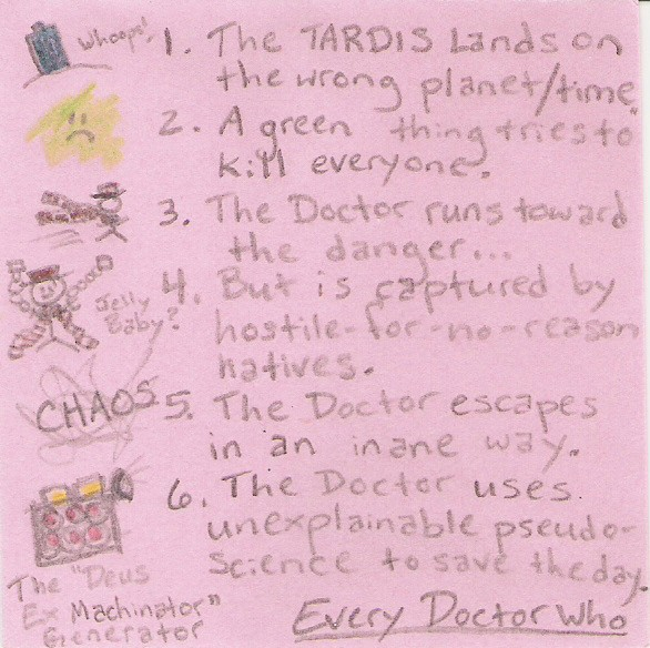 1. The TARDIS lands on the wrong planet / time (whoops) 2. A green thing tries to kill everyone. 3. The Doctor runs toward the danger... 4. But is captured by hostile-for-no-reason natives. (Jelly Baby?) 5. The Doctor escapes in an inane way. (CHAOS) 6.The Doctor uses unexplainable pseudo-science to save the day. (The Deus Ex Machinator Generator)