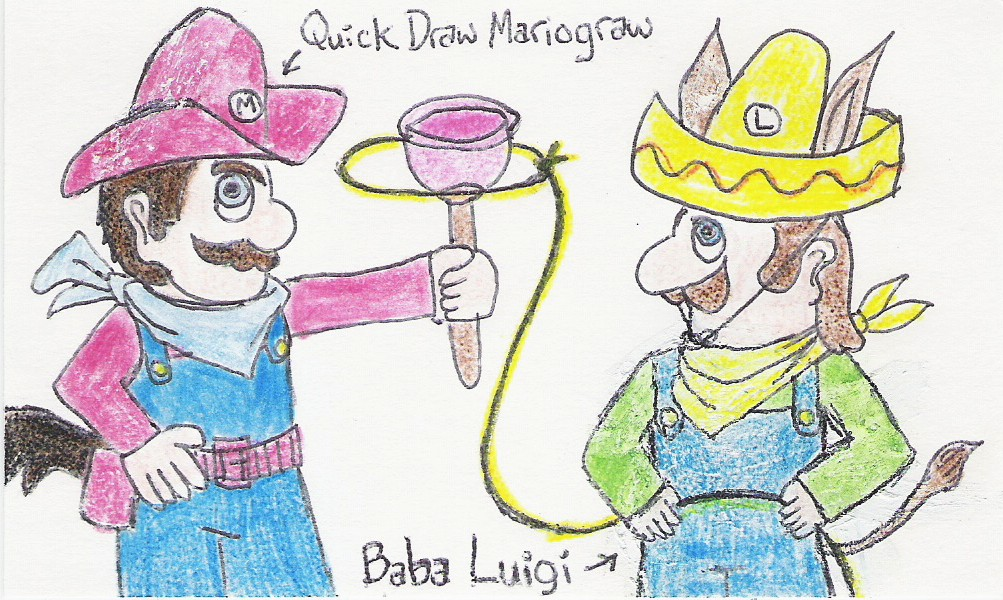 Quick Draw Mariograw [Mario wearing McGraw's hat, scarf, bet, and tail, and carrying a plunger]] Baba Luigi [Luigi wearing Looey's hat, ears, bandana, and tail, and swinging a lasso around Mario's plunger]