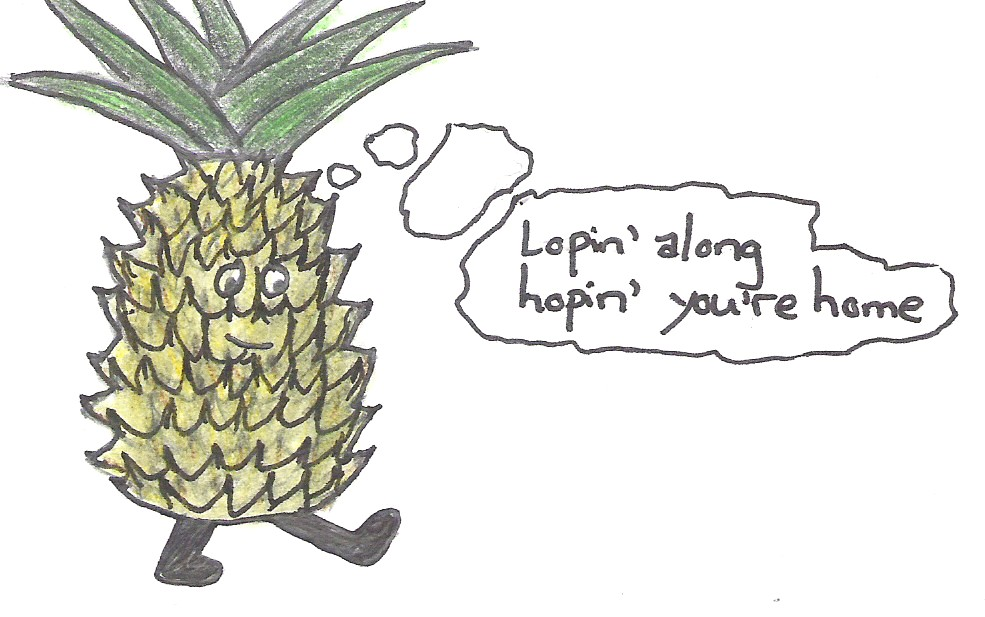 [anthropomorphic pineapple thinking