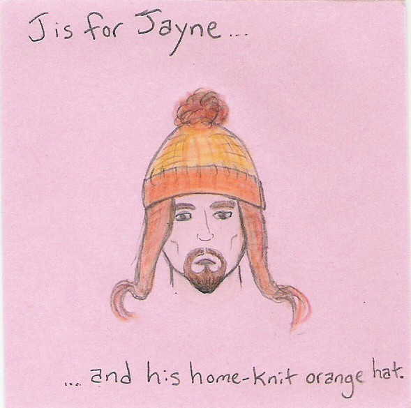 J is for Jayne and his home-knit orange hat.
