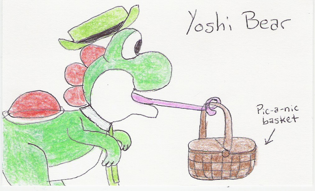 Yoshi Bear [picture of Yoshi wearing Yogi's signature hat and tie, with his tongue wrapped around a pic-a-nic basket]