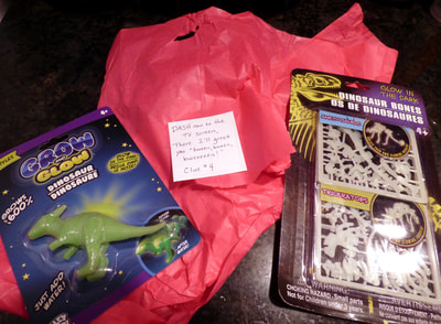 glow in the dark dinosaurs and clue #4, found in fridge