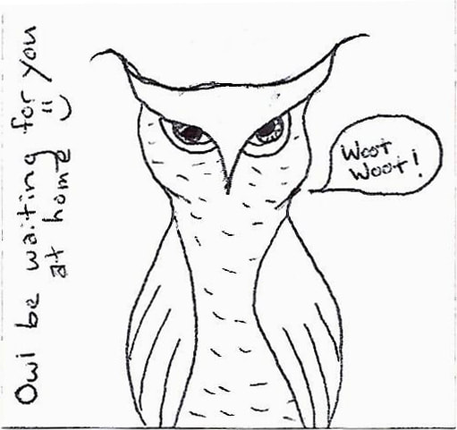 pen doodle of a Great Horned Owl saying
