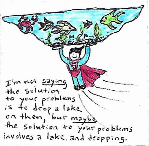 pen and marker drawing of Superman carrying a frozen lake, with text